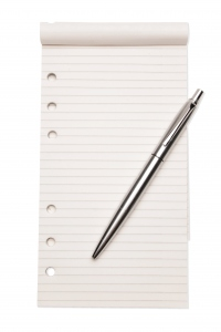 notepaper with pen